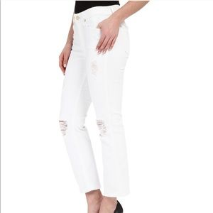 7 For All Mankind White Cropped Boot Distressed 26